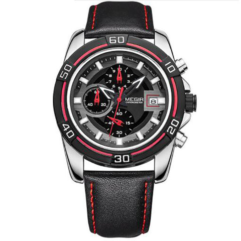 Brand Men Business Watch Luxury Leather Strap Chronograph Quartz Military Wrist Watches Clock