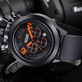 Military Style Watch Analog Display Date Chronograph Sport Watches Men Clock Silicon Band Wristwatch