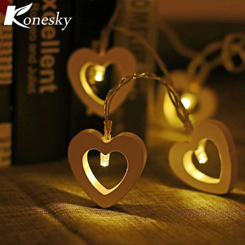 10-LED Fairy String Lights Wooden Heart Style Warm White Lamp Decoration Battery Operated Christmas