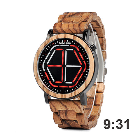 4 Colors Unique Mens Wooden Watches LED Digital Wristwatches Wood Link Special Gift