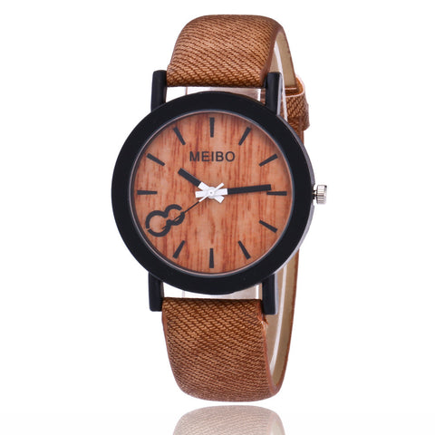 MEIBO Model Wooden Quartz Mens Watch Casual Wooden Color Leather Watch