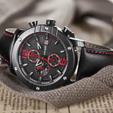 New Men Sport Watch Leather Strap Chronograph Quartz Army Military Watches Clock Men