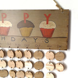 Happy Birthday Printed Colorful Letters Hanging Wooden Plaque Board Birthday Reminder DIY Calendar Gift