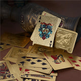 NUOLUX Plastic Poker Cards Sexy Lady Gold Foil Playing Cards with Wooden Box for Poker Games