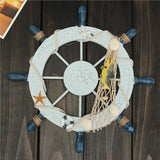 Mediterranean Nautical Beach Wooden Boat Ship Steering Wheel Helm Fishing Net Shell Home Wall Décor