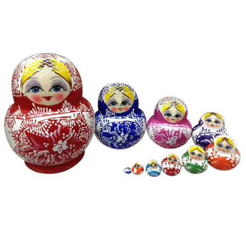 10Pcs Colorful Russian Nesting Dolls Lovely Wooden Handmade Painted Stacking Russian Matryoshka Dolls