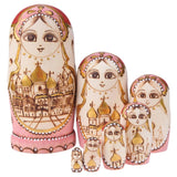 7Pcs/Set Castle Church Type Russian Matryoshka Dolls Wooden Hand Painted Fun Stacking Russian Nesting Dolls Gift Home Decoration