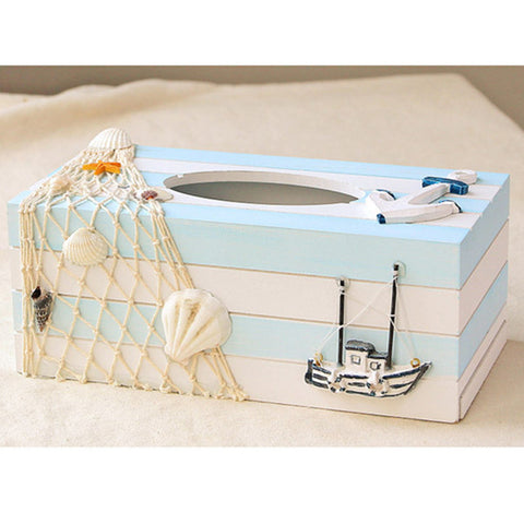 Mediterranean Ocean Style Solid Wood Tissue Box House And Home Living Room Pumping Carton Furnishings Creative Artware L773