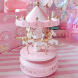 Refinement PINK VISIONS Carousel Music Box Desktop Furnishings Hearts No Flowers Room Cute Decoration Creative Artware Gift L827