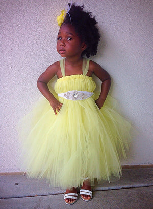 Canary Yellow Flower Girl Tutu Dress
