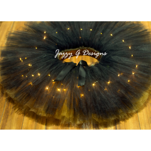 Black & Old Gold Double Layer LED Light Up Tutu