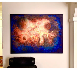 Planets in space, 100 x 120 cm