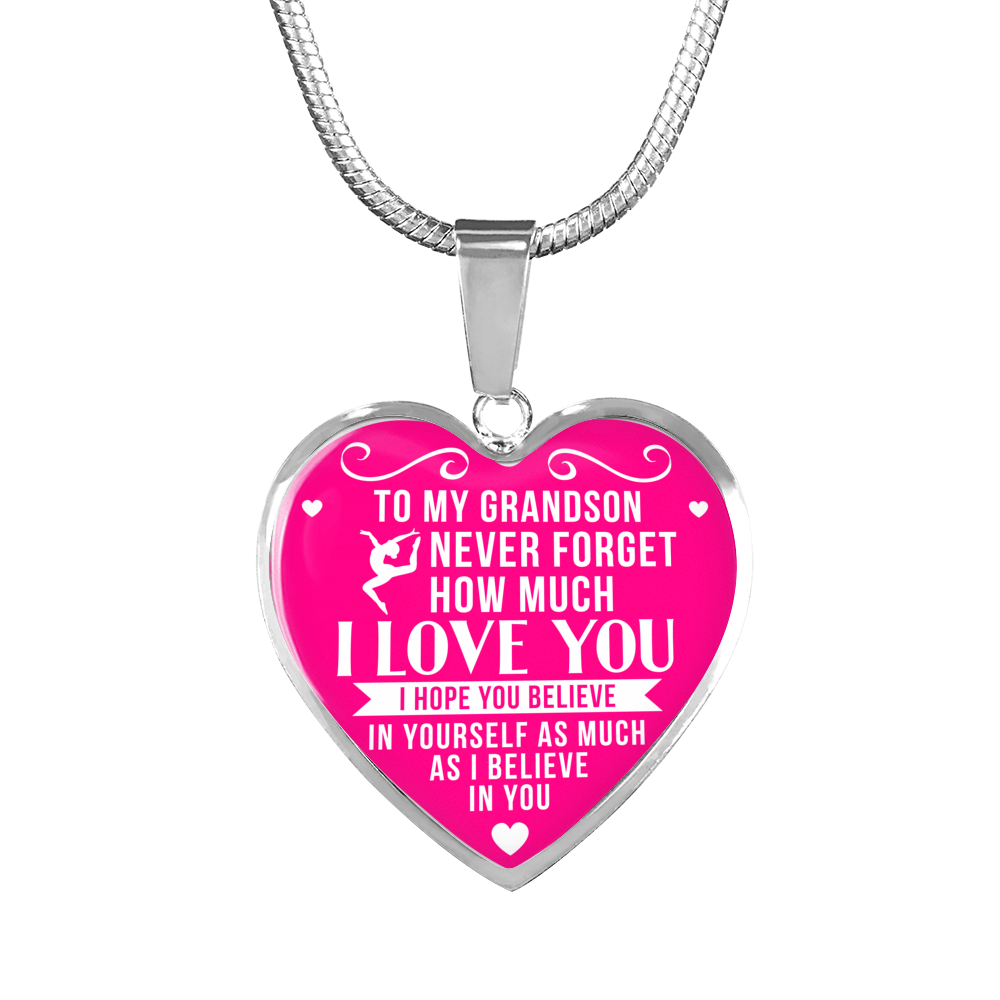 Gymnastics - To Grandson Believe in Yourself - Heart Necklace