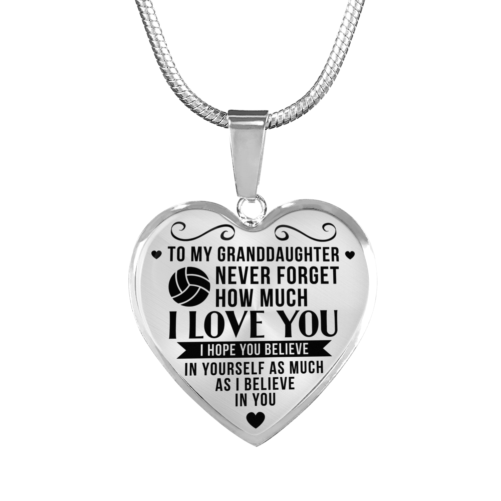 Volleyball - To Granddaughter Believe in Yourself - Heart Necklace