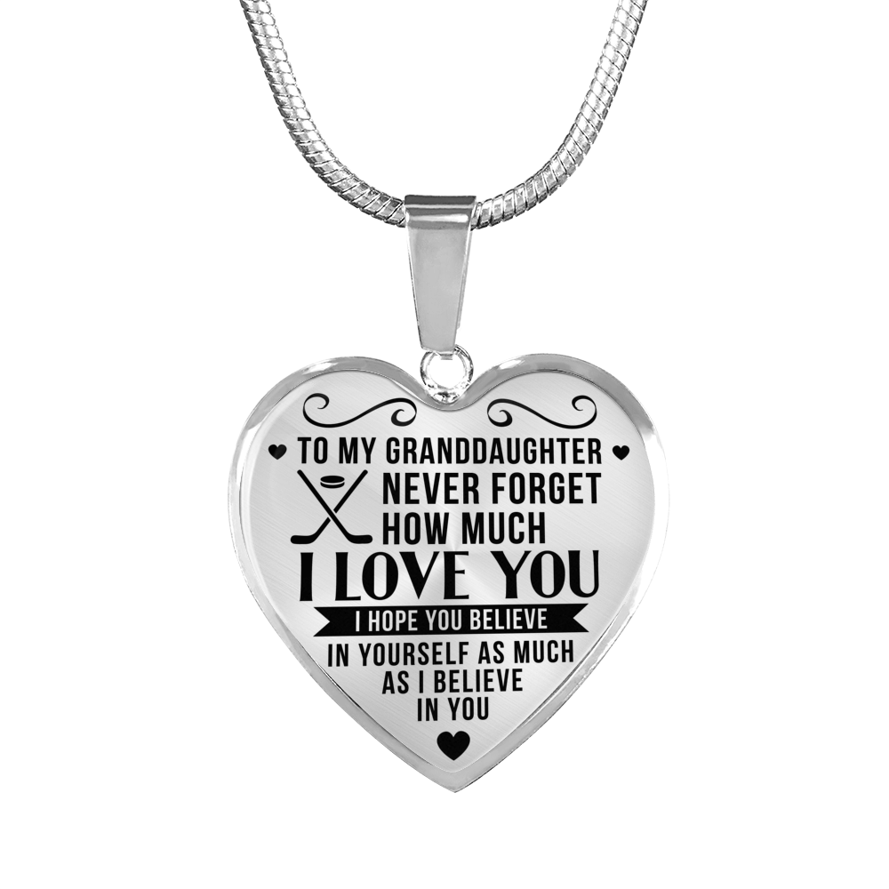 Hockey - To Granddaughter Believe in Yourself - Heart Necklace