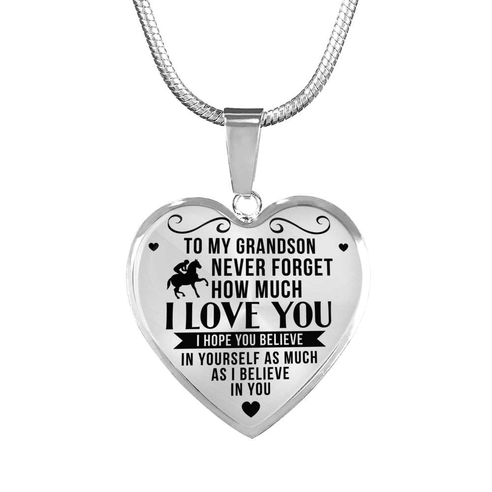 Horse Riding - To Grandson Believe in Yourself - Heart Necklace