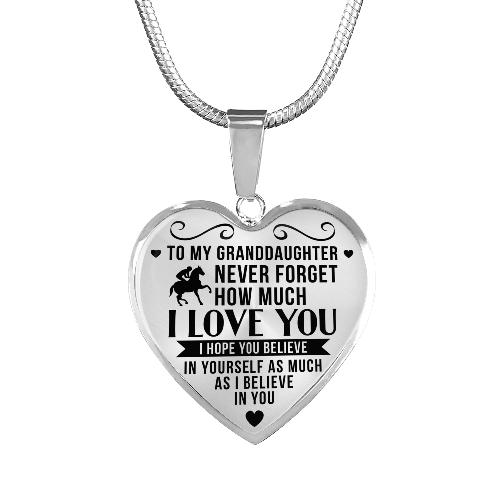 Horse Riding - To Granddaughter Believe in Yourself - Heart Necklace