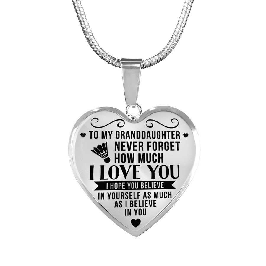 e502e119 Badminton - To Granddaughter Believe in Yourself - Heart Necklace