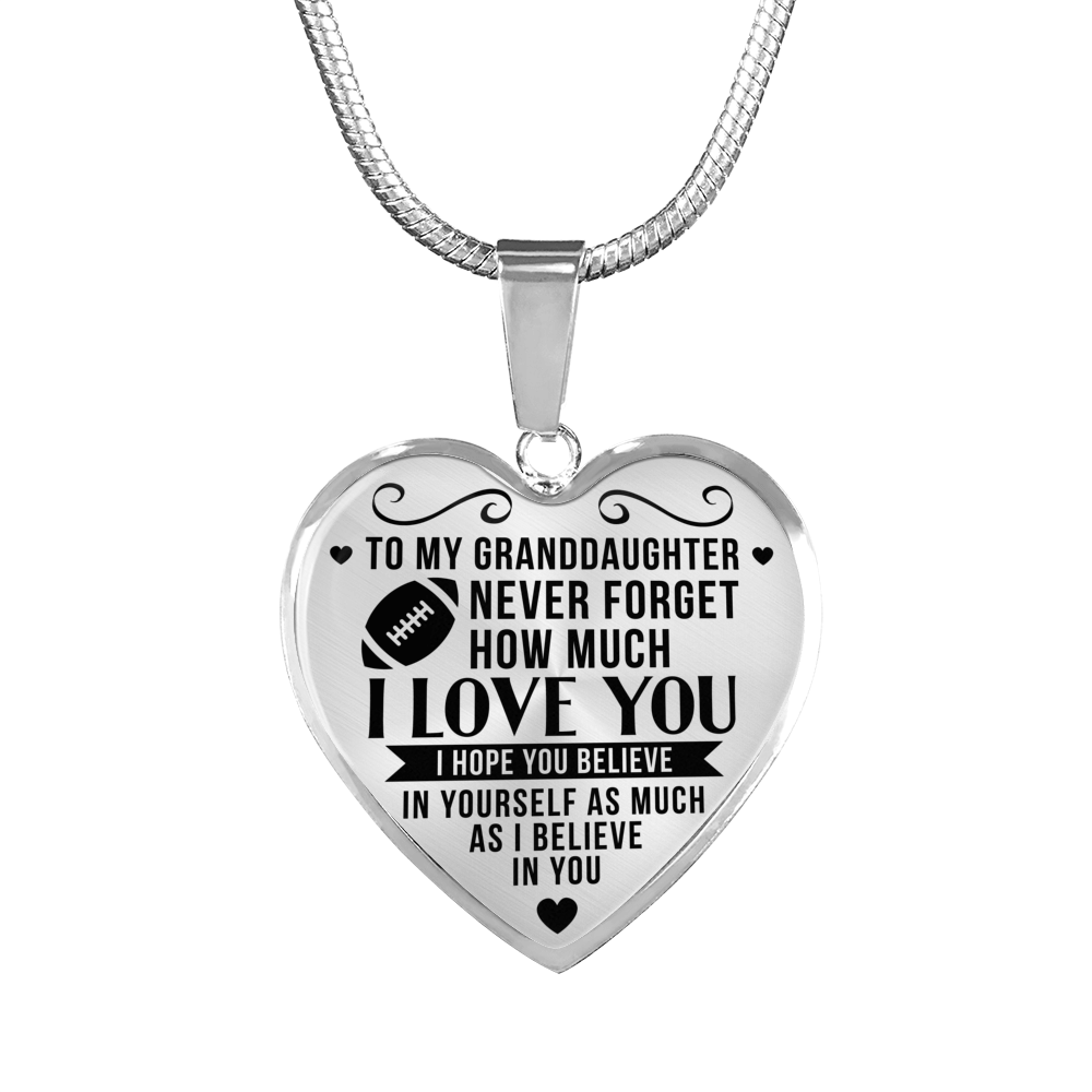 American Football - To Granddaughter Believe in Yourself - Heart Necklace