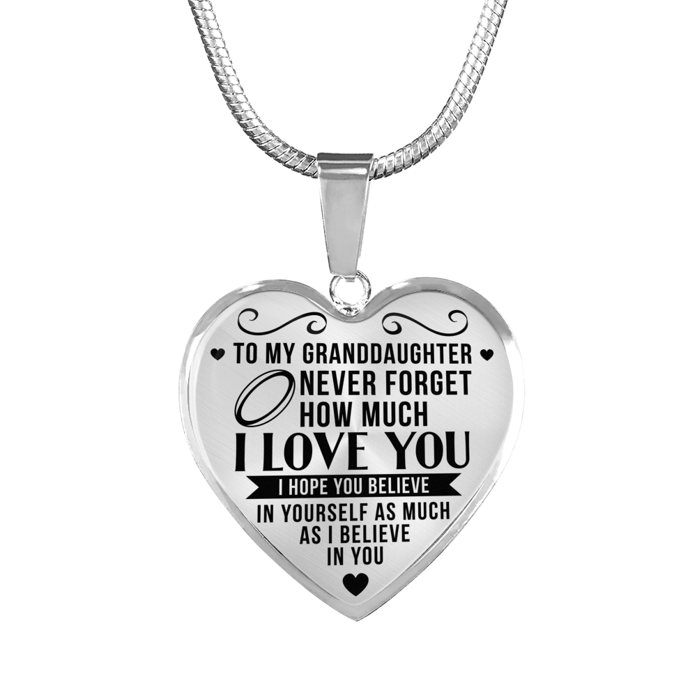 Rugby - To Granddaughter Believe in Yourself - Heart Necklace