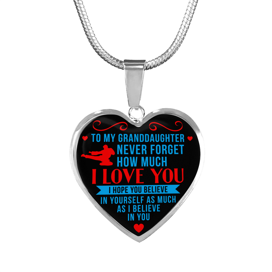 1fbcea56 Taekwondo - To Granddaughter Believe in Yourself - Heart Necklace