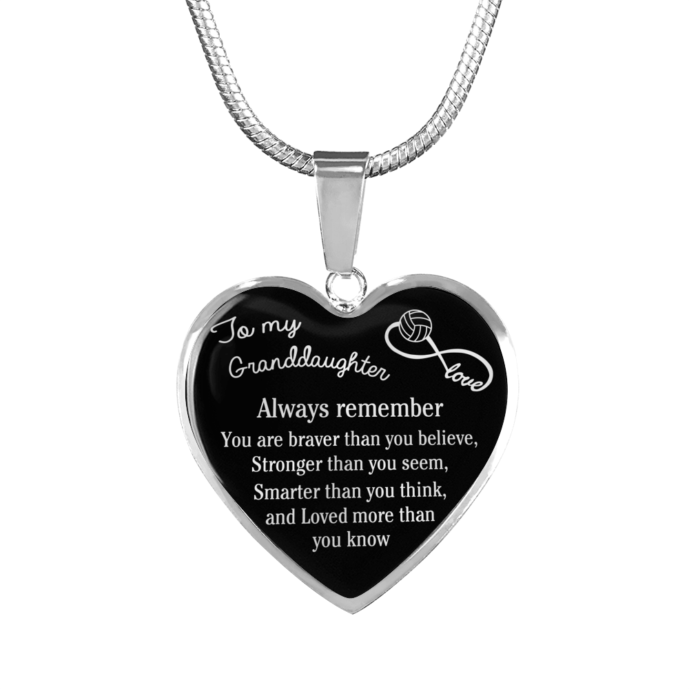 Volleyball - To My Granddaughter, You Are Braver, Stronger, Smarter Necklace