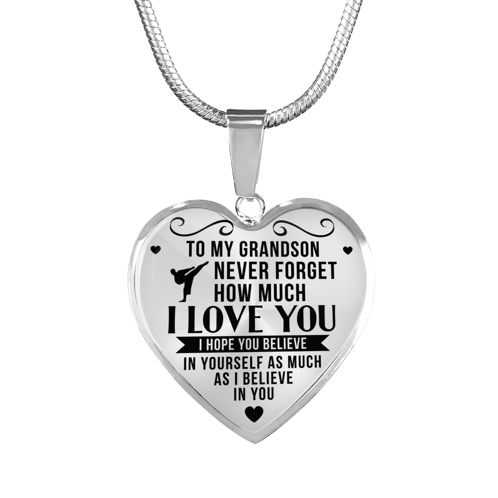 Martial Arts - To Grandson Believe in Yourself - Heart Necklace