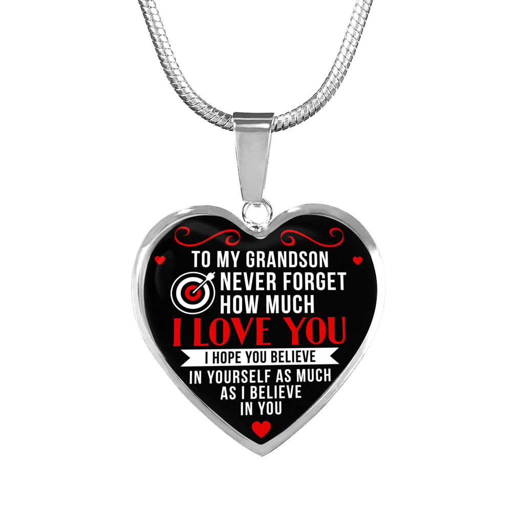 Archery - To Grandson Believe in Yourself - Heart Necklace