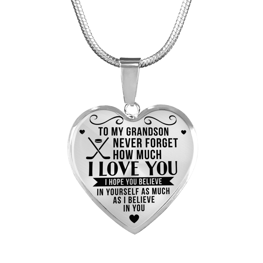 Hockey - To Grandson Believe in Yourself - Heart Necklace