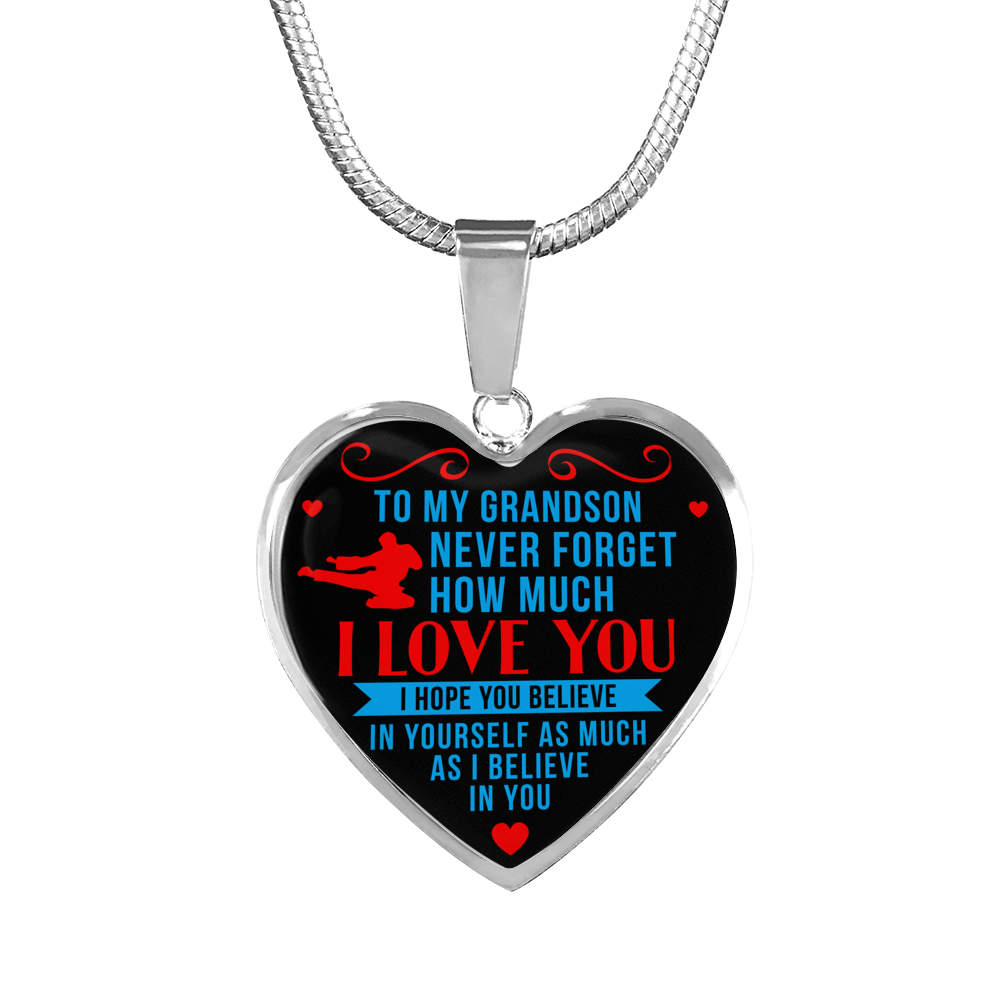 Taekwondo - To Grandson Believe in Yourself - Heart Necklace