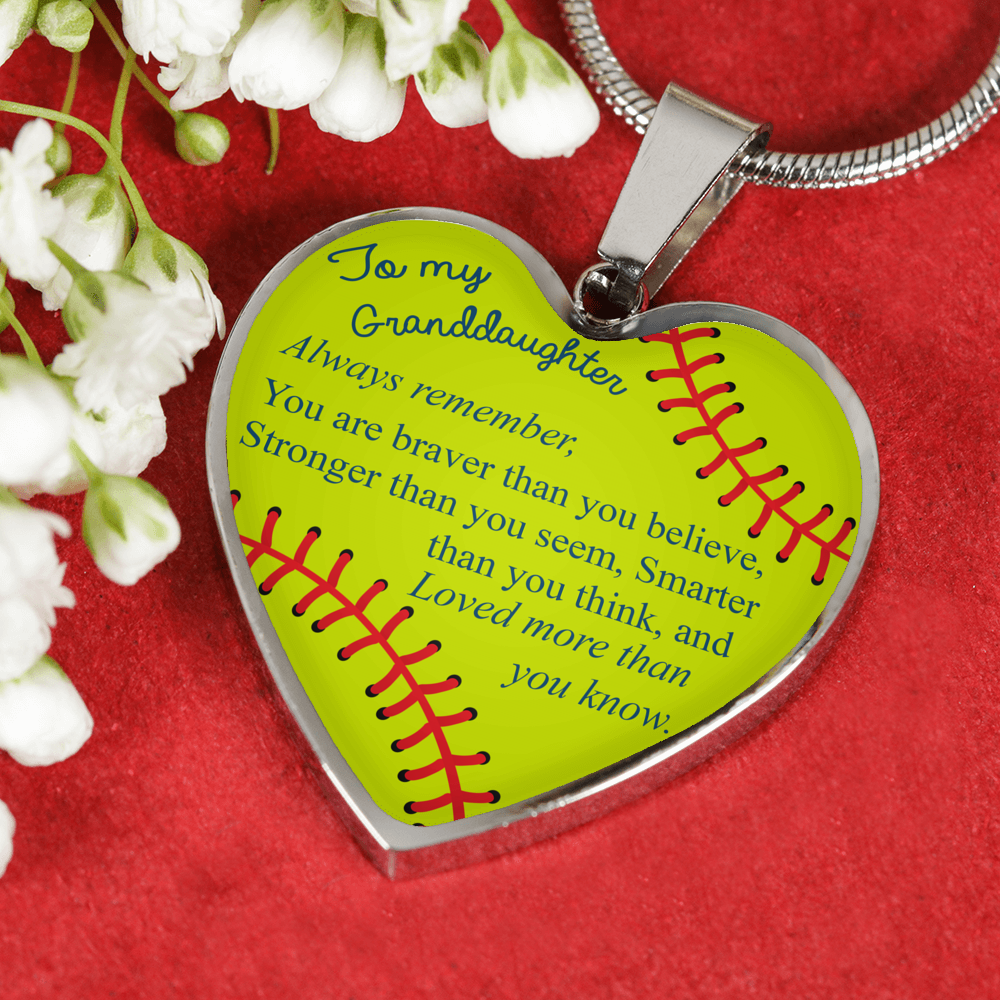 Softball -You Are Braver, Stronger, Smarter Necklace - For Granddaughter