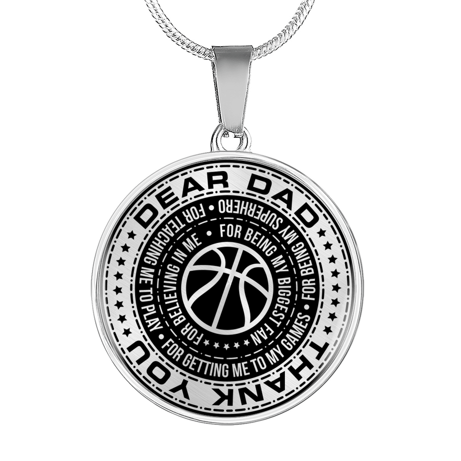 bc92d3d6 Basketball - Dad Thank You For Teaching Me to Play Necklace