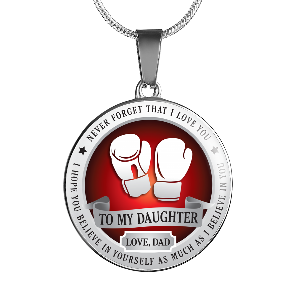 BOXING NECKLACE - TO DAUGHTER. LOVE DAD