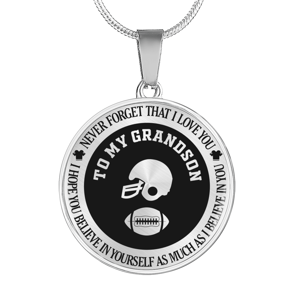 Football - To My Grandson, Never Forget That I Love You Necklace