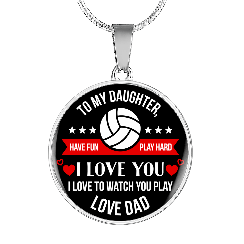 Volleyball Play Hard Necklace - To Daughter From Dad