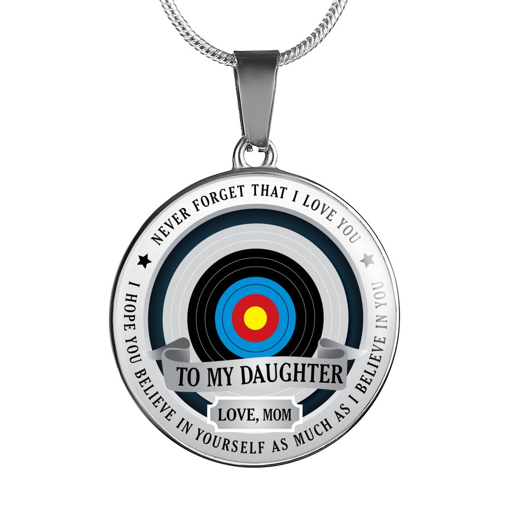 Archery Necklace - To Daughter. Love Mom