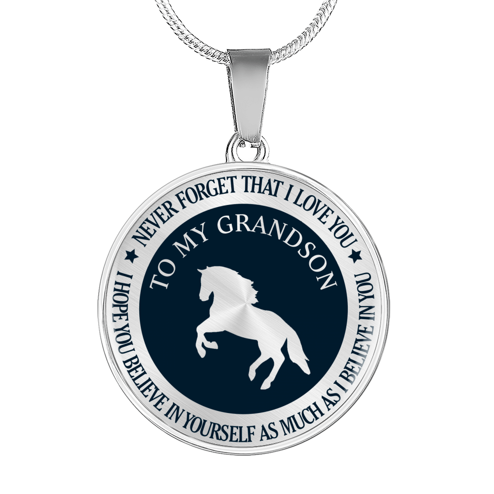 Horse - Believe - For Grandson Necklace