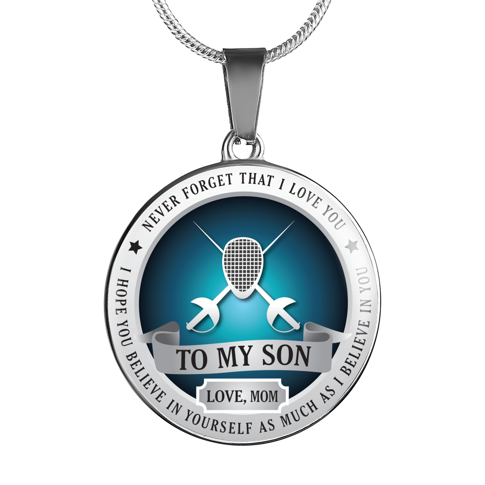 FENCING NECKLACE - TO SON. LOVE MOM