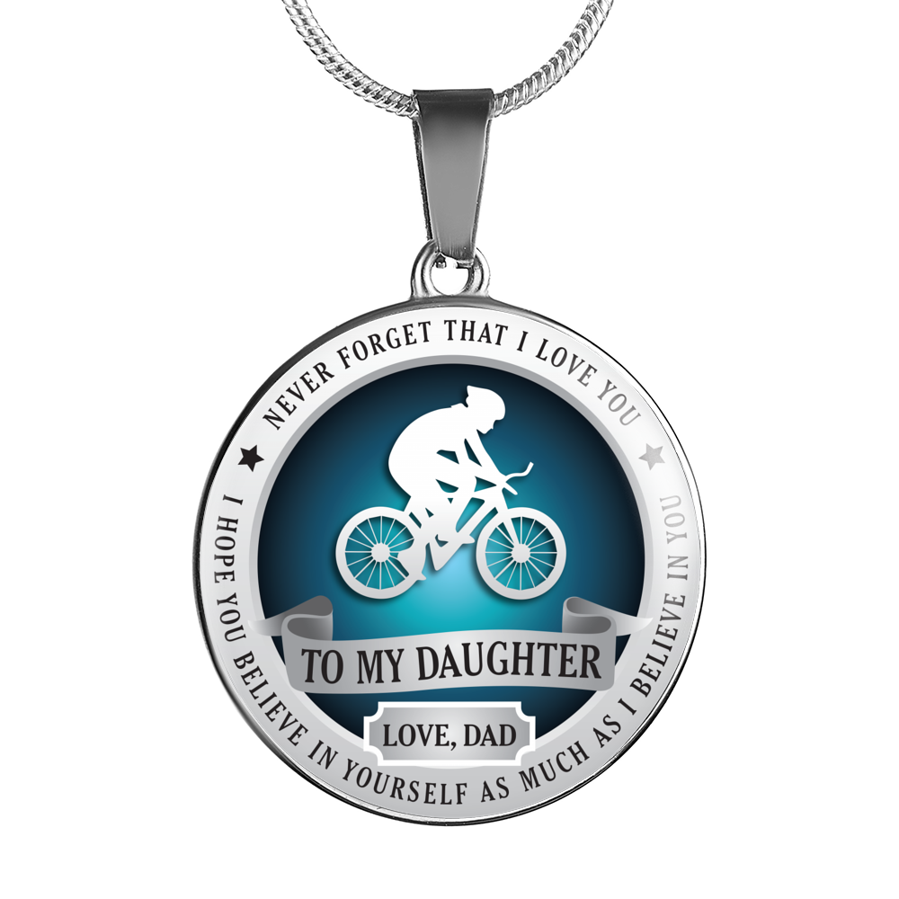 CYCLING NECKLACE - TO DAUGHTER. LOVE DAD
