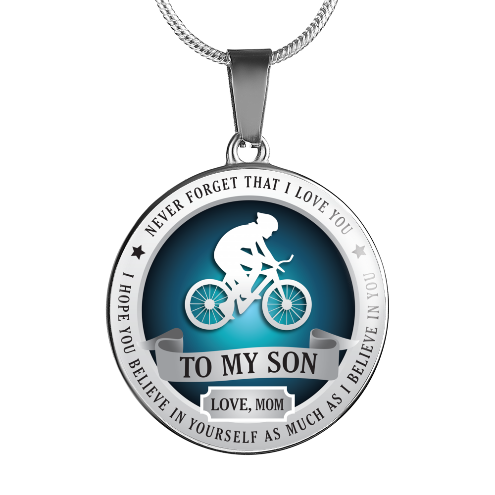 CYCLING NECKLACE - TO SON. LOVE MOM