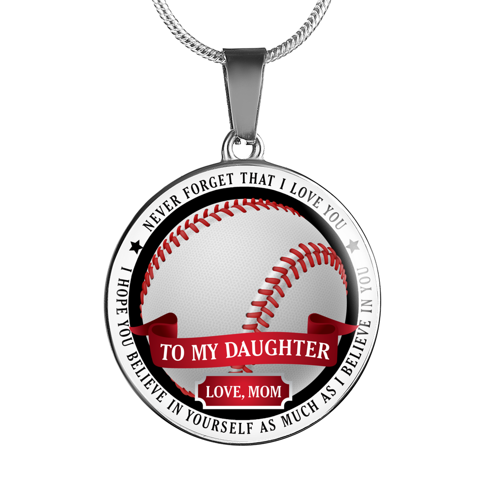 Baseball Necklace - To Daughter. Love Mom