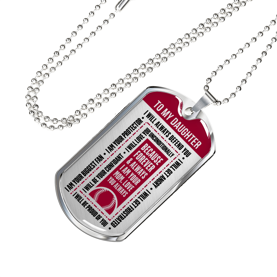 8659e266 Softball - I Will Always Defend You Daughter From Mom Dogtag