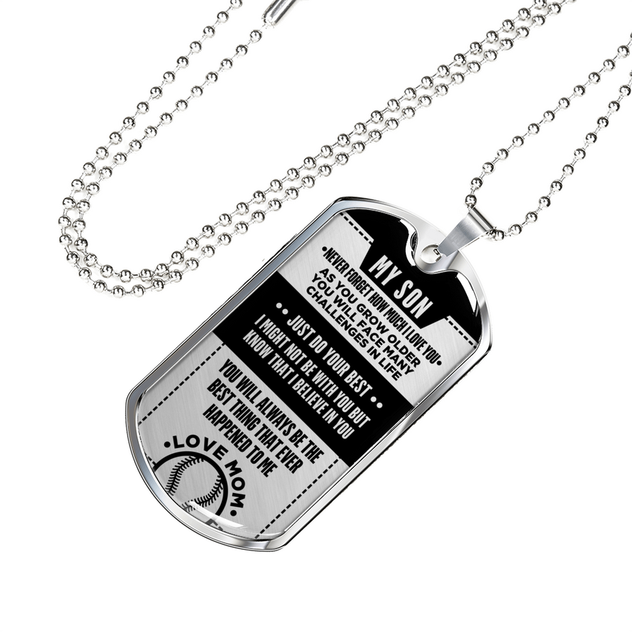 4e4395ab Softball - Just Do Your Best Son From Mom Dogtag