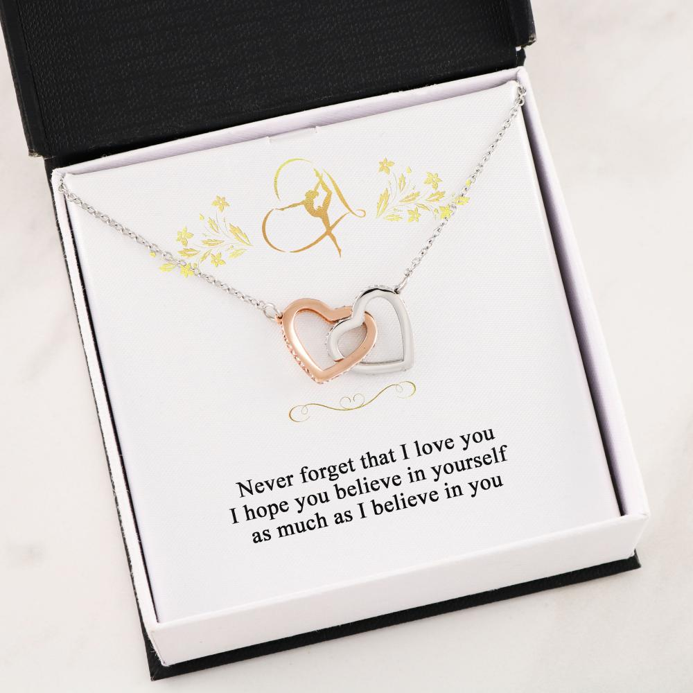 Gymnastics - Believe - Interlocking Heart Necklace