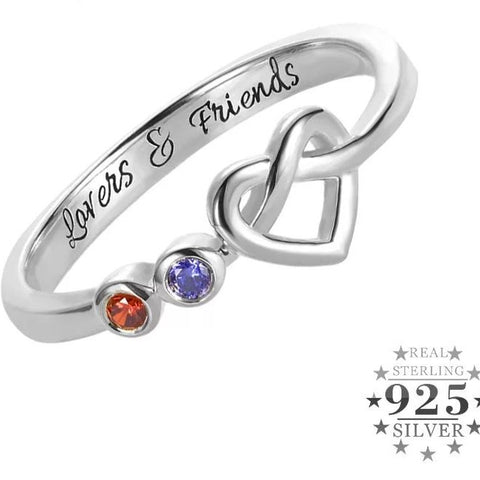 Knotted Heart Birthstone ring