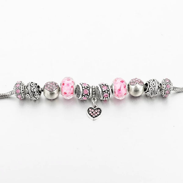 Silver Pink Charms Bracelet - HNS Studio