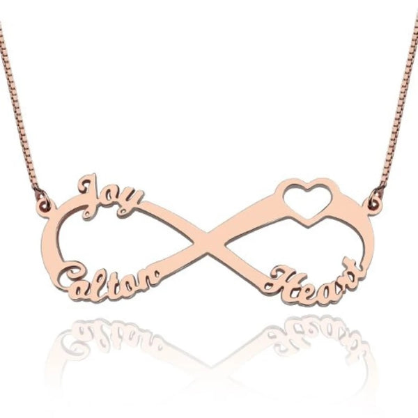 Personalized Name Infinity Sterling Silver Necklace with 3 Names - HNS Studio