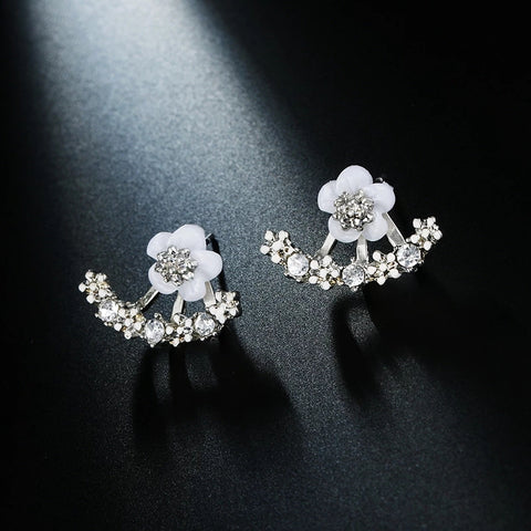 Daisy Crystal Silver Earrings