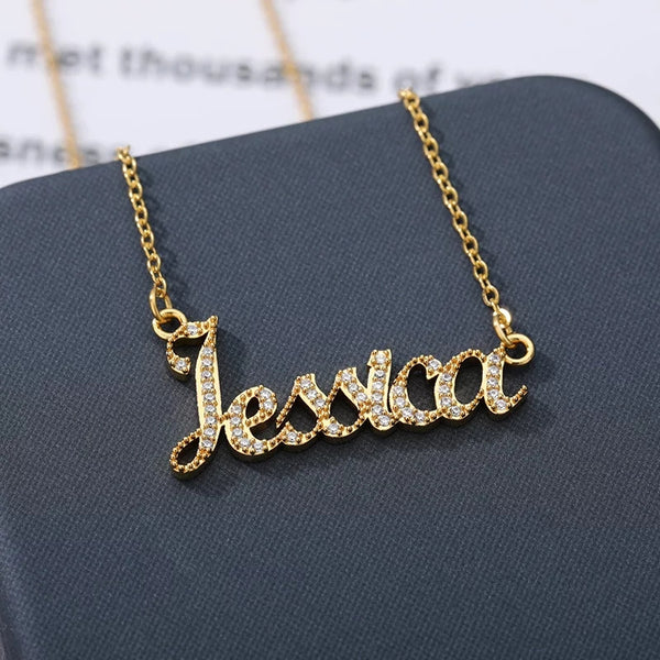 Custom Name necklace with Cubic Zirconia