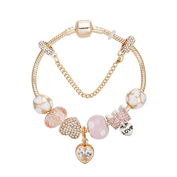 Rose gold charms bracelet